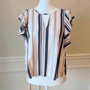 Striped Ruffle Sleeve Blouse